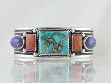 Natural Royston Turquoise, Spiny Oyster Shell & Charoite Bracelet by Albert Jake, Navajo