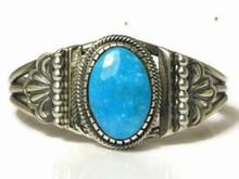 Sterling Silver Kingman Turquoise Bracelet by Leon Martinez, Navajo