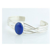 Sterling Silver Branch Wire Lapis Bracelet by Angela Martin, Navajo