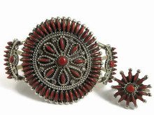Mediterranean Coral Needle Point Cluster Bracelet & Ring by Eva Wyaco, Zuni Indian