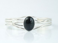 Sterling Silver Branch Wire Onyx Bracelet by Angela Martin, Navajo