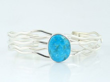Sterling Silver Branch Wire Turquoise Bracelet by Angela Martin, Navajo (BR4624)