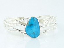 Sterling Silver Branch Wire Turquoise Bracelet by Angela Martin, Navajo (BR4627)