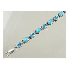 Sterling Silver Gallery Wire Blue Topaz & Sleeping Beauty Turquoise Link Bracelet