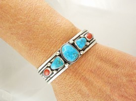 Kingman Turquoise & Coral Bracelet by Albert Jake