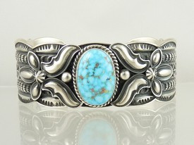 Natural Godber Turquoise Cuff Bracelet by Andy Cadman - Large