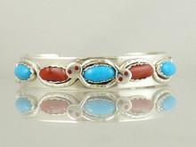 Effie Calavaza Silver Turquoise & Coral Bracelet (BR4726)