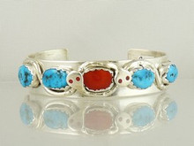 Effie Calavaza Silver Candalaria Turquoise & Coral Bracelet (BR4728)