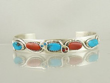 Effie Calavaza Silver Candalaria Turquoise & Coral Bracelet (BR4731)