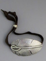 Silver Feather Leather Bracelet by Herman Smith