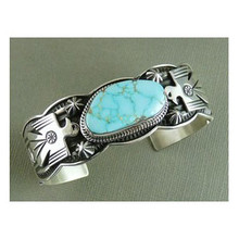 Number 8 Turquoise Thunderbird Bracelet by Albert Jake, Mans Turquoise Bracelet