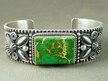 Green Manassa Turquoise Bracelet by Andy Cadman, Mans Turquoise Bracelet