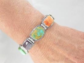 Sterling Silver Turquoise & Gemstone Link Bracelet