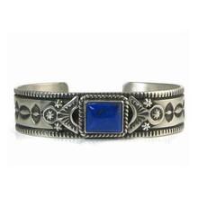 Handmade Sterling Silver Lapis Bracelet by Happy Piaso, Navajo