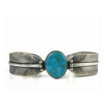Sterling Silver Turquoise Feather Bracelet by Lena Platero, Navajo (BR5112)