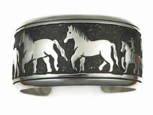 Sterling Silver Large Horse Bracelet by Tommy Singer, Navajo