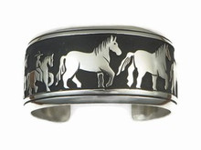 Sterling Silver Large Horse Bracelet by Tommy Singer, Navajo Jewelry