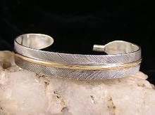 "12k Gold & Sterling Silver Feather Bracelet 3/8"" by Lena Platero, Navajo"