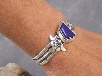 Natural High Grade Lapis Bracelet by Fritson Toledo, Navajo