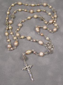 Pink Freshwater Pearl Rosary