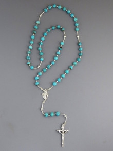 Turquoise Rosary Beads 24""