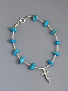 "Turquoise Rosary Bead Bracelet 8"" (CR256)"