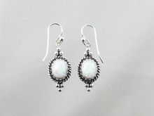 Sterling Silver Gallery Wire Opal Earrings