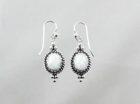 Sterling Silver Gallery Wire Opal Earrings