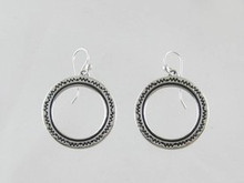 Sterling Silver Stamped Circle Earrings