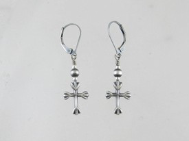 Antiqued Sterling Silver Cross Earrings - Leverbacks
