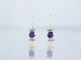 14k Gold & Silver Amethyst Earrings