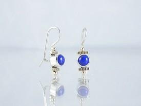 14k Gold & Silver Lapis Earrings