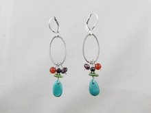 Turquoise & Gemstone Beaded Loop Earrings - Lever Backs