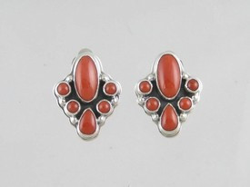Sterling Silver Mediterranean Coral Clip On Earrings (ER0526)