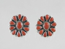 Sterling Silver Mediterranean Coral Clip On Earrings (ER0528)