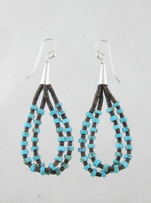Turquoise Pin Shell Heishi Earrings