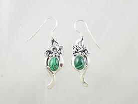 Sterling Silver Malachite Dangle Earrings (ER0684)