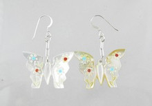 Mother of Pearl, Coral & Turquoise Butterfly Fetish Earrings