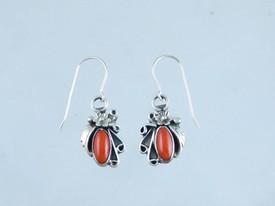 Sterling Silver Mediterranean Coral Earrings (ER0984)