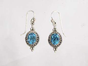 Blue Topaz Gallery Wire Dangle Earrings