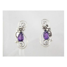Sterling Silver Amethyst Post Earrings (ER1166)