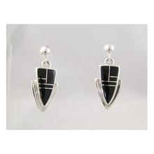 Sterling Silver Black Jet Arrowhead Earrings
