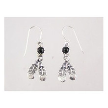 Sterling Silver Onyx Feather Earrings