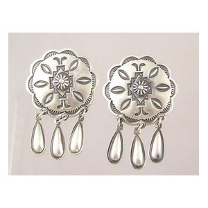 Sterling Silver Concho Dangle Earrings - Delbert Gordon (ER1954)