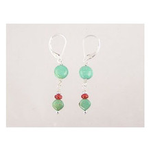 Turquoise & Bamboo Coral Beaded Earrings - Leverbacks