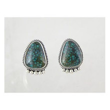 Sterling Silver Chinese Turquoise Gem Earrings