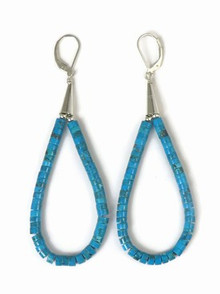 Turquoise Heishi Loop Earrings 3 1/2""