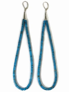 Turquoise Heishi Loop Earrings 7""