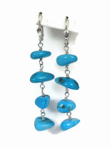 Sterling Silver Turquoise Dangle Earrings - Turquoise Lever Back Earrings (ER2363)