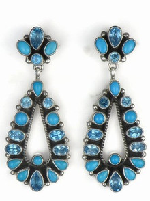 Sleeping Beauty Turquoise & Blue Topaz Dangle Earrings by Geneva Apachito, Navajo Jewelry